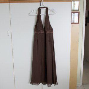 Max&Cleo Mahogany Brown Silk Chiffon Halter Dress